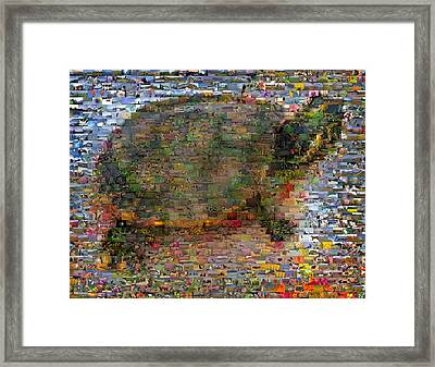 Framed Print featuring the mixed media Turtle Wild Animals Mosaic by Paul Van Scott