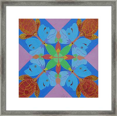 Turtles And Butterfly People Framed Print by Seema  Gill