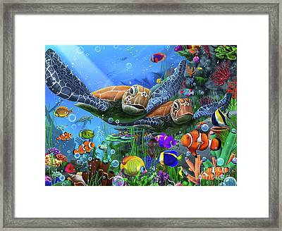 Turtles Of The Deep Framed Print
