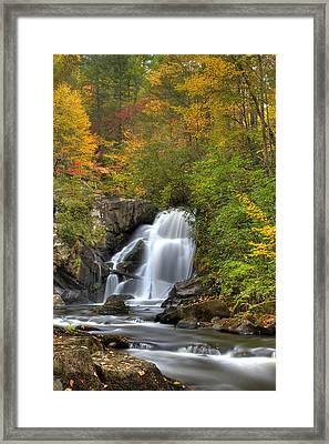 Turtletown Creek Falls Framed Print by Debra and Dave Vanderlaan