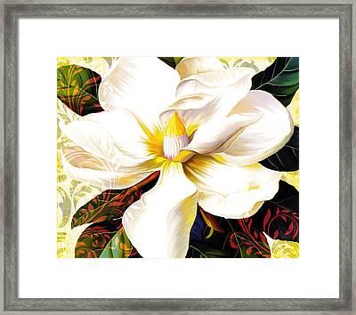 Tuscan Afternoon, Italian Magnolia, Mediterranean Colours Framed Print