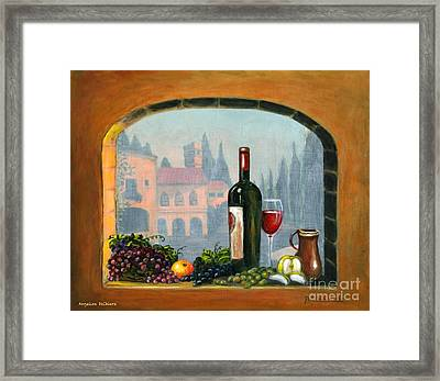Tuscan Arch Wine Grape Feast Framed Print