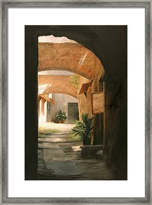 Tuscan Arches Framed Print by Anna Rose Bain
