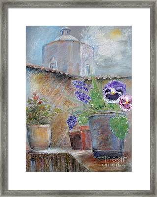 Tuscan Courtyard Framed Print by Sibby S