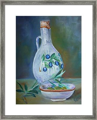 Tuscan Elements - Olive Oil With Olives Framed Print by Virgilla Lammons