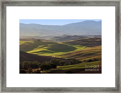 Tuscan Farm House, Vineyard, Green Hills Framed Print
