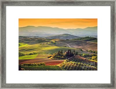Tuscan Farm House, Vineyard, Hills Framed Print