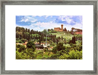 Tuscan Fields And Old Castle In Florence Framed Print