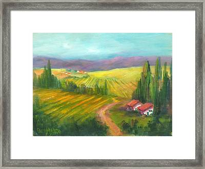 Tuscan Fields Framed Print by Sally Seago