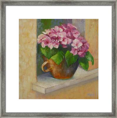 Framed Print featuring the painting Tuscan Flower Pot Oil Painting by Chris Hobel