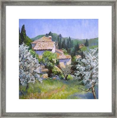 Tuscan  Hilltop Village Framed Print