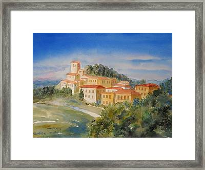 Tuscan Hilltop Village Framed Print by Marilyn Young