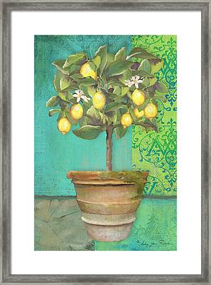 Tuscan Lemon Topiary - Damask Pattern 1 Framed Print