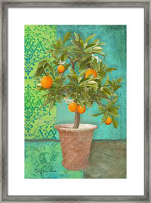 Tuscan Orange Topiary - Damask Pattern 2 Framed Print by Audrey Jeanne Roberts