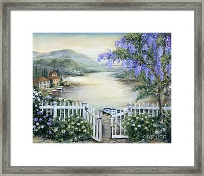 Tuscan Pond And Wisteria Framed Print