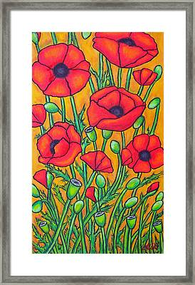 Tuscan Poppies - Crop 2 Framed Print by Lisa  Lorenz