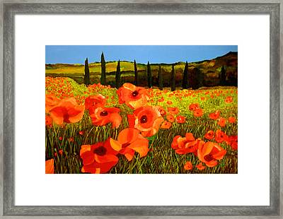 Tuscan Poppies Framed Print by JoeRay Kelley