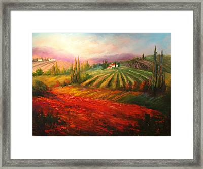 Tuscan Poppies Framed Print by Sally Seago