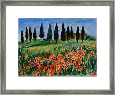 Tuscan Poppies With Poplar Trees Framed Print by Angela Puglisi