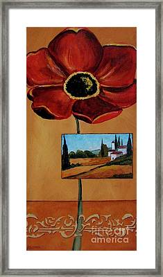Tuscan Poppy Postcard Framed Print by Italian Art