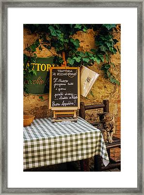 Tuscan Restaurant Patron Framed Print by Andrew Soundarajan