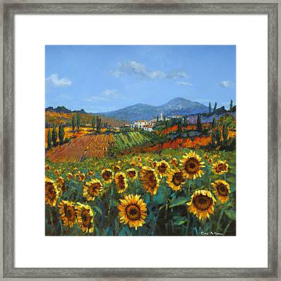 Tuscan Sunflowers Framed Print by Chris Mc Morrow