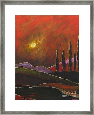 Tuscan Sunset Rage Framed Print