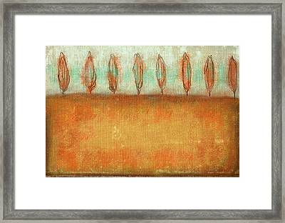 Tuscan Trees In Sienna Framed Print by Suzanne Powers