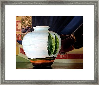 Tuscan Vase And Tapestry Framed Print