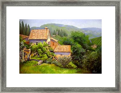 Framed Print featuring the painting Tuscan Village Memories by Chris Hobel
