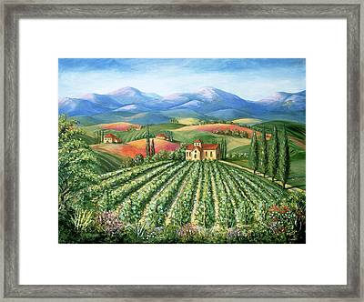 Tuscan Vineyard And Abbey Framed Print by Marilyn Dunlap