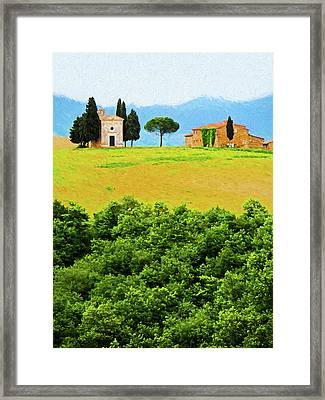 Tuscany Chapel And Farmhouse Framed Print by Dennis Cox