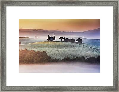 Tuscany Church On The Hill Framed Print by Evgeni Dinev
