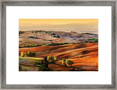 Tuscany Countryside Landscape At Sunrise Framed Print by Michal Bednarek