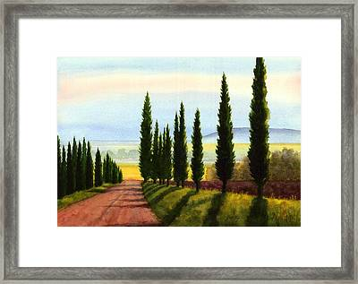 Tuscany Cypress Trees Framed Print by Janet King