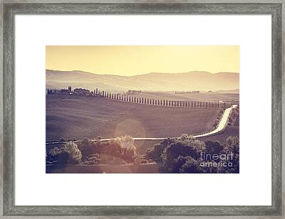 Tuscany Fields And Valleys Autumn Landscape, Italy. Sunset, Vintage Light Framed Print