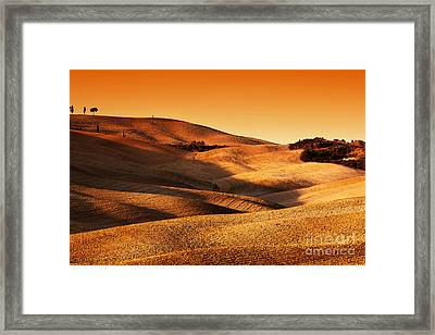 Tuscany, Italy Landscape At Sunset. Picturesque Hills With Lights And Shadows Framed Print
