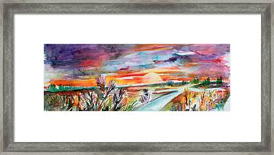 Framed Print featuring the painting Tuscany Landscape Autumn Sunset Fields Of Rye by Ginette Callaway