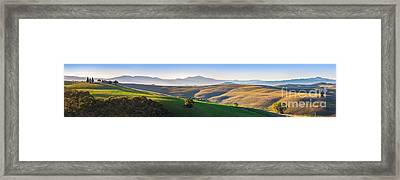 Tuscany Landscape Panorama At Sunrise With A Chapel Of Madonna D Framed Print