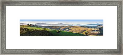 Tuscany Landscape Panorama At Sunrise With A Chapel Of Madonna Di Vitaleta Framed Print