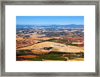 Tuscany Landscape Panorama, Italy. Farm Houses, Vineyards Framed Print
