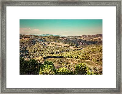 Tuscany Landscape With Green Meadows, Vineyards, Forests. Italy. Aerial Framed Print by Michal Bednarek