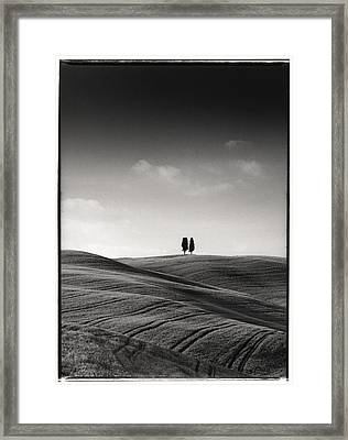Tuscany Twin Cypresses Framed Print by Michael Hudson