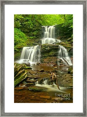 Tuscaroa Cascading Through Ganoga Glen Framed Print by Adam Jewell