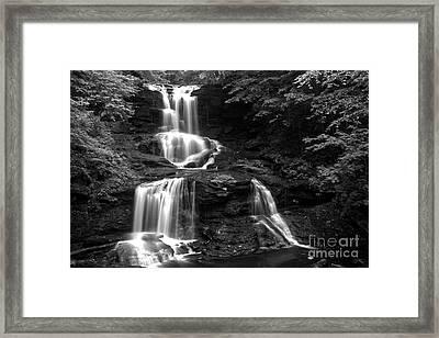 Tuscarora Falls Black And White Landscape Framed Print by Adam Jewell