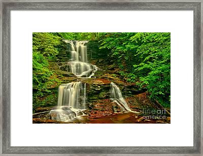 Tuscarora Falls Spring Cascades Framed Print by Adam Jewell