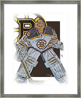Tuukka Rask Boston Bruins Oil Art 2 Framed Print by Joe Hamilton