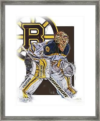 Tuukka Rask Boston Bruins Oil Art 3 Framed Print by Joe Hamilton