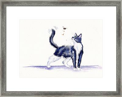 Tuxedo Cat And Bumble Bee Framed Print by Debra Hall
