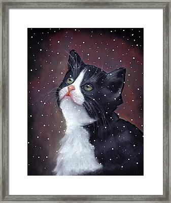 Tuxedo Cat With Snowflakes Framed Print